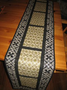 Quilted Table Runner Contemporary Geometric Gold, Black And Cream
