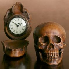 Skull Clock from Z Gallerie. Sculpt the clock onto the forehead? Vanitas, Memento Mori, Crane, Collections D'objets, Halloween Countdown, Goth Home, Mantle Piece, By Any Means Necessary, Modern Clock