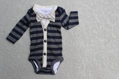 Cardigan and Bow Tie Onesie Set - Navy and Grey Gingham - Trendy Baby Boy. $40.00, via Etsy.