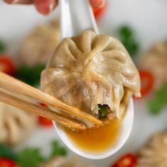 Pho Soup Dumplings - Marion's Kitchen Pho, Asian Dumpling Recipe, Homemade Dumplings, Thai Dumplings, Asian Recipes, Ethnic Recipes, Asian Foods, Coriander Cilantro, Hoisin Sauce