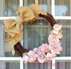 Pink Roses n Burlap Wreath you can make easily. #Burlap #PinkRoses #HowtoMakeaWreath