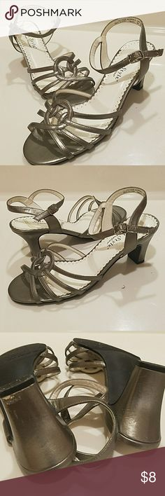 """Soft Style by Hush Puppies Sandals Soft Style by Hush Puppies Sandals sandals. Grey color. Buckle straps. Used a few times. Approx 2.5"""" heels. Size 8M. Please ask questions if needed before purchasing. Soft Style Shoes"""