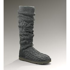 UGG Over the Knee Twisted Cable Women's Charcoal Knee-High Boots ($250) ❤ liked on Polyvore
