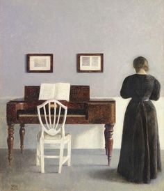 Vilhelm Hammershoi (1864–1916), Interior with Woman by the Piano, 1901