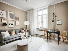 I love a good example of small space living and this beautiful, warm and inviting home certainly deserves it's place in the list. The bedroom is right underneath the ceiling, creating ample space for a living room area with a … Continue reading → Beige Walls, Interior, Curtains Living Room, Small Dining Table, Beige Living Rooms, Living Room Grey, Beige And Grey Living Room, Dining Table Black, Brown Living Room
