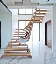 Design staircase - how do the designers do it? - sustainable design wooden steps in the staircase - Interior Railings, Interior Stairs, Nachhaltiges Design, Home Design, Design Ideas, Design Basics, Design Guidelines, Design Blogs, Industrial Interior Design