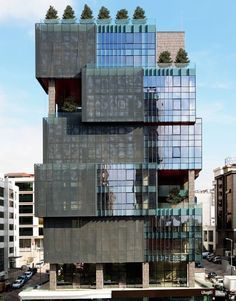 The Otomotiv Office Building / Tago Architects Completed in 2015 in Istanbul, Turkey. The Otomotiv Office Building, located on one of the thoroughfares of the region in which has become one of the most important life. Office Building Architecture, Building Facade, Futuristic Architecture, Facade Architecture, Amazing Architecture, Contemporary Architecture, Building Design, Building Ideas, Contemporary Stairs