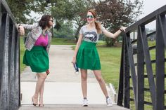 Two ways to wear a green high-wasted skirt: edgy hipster look or bright and girly