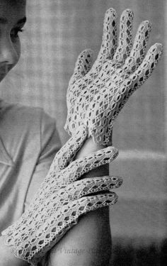 1960's Summer Gloves Vintage Crochet Pattern by PamoolahVintage, $2.50