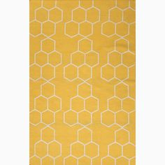 Hand-Made Yellow/ Ivory Wool Easy Care Rug (5x8) | Overstock™ Shopping - Great Deals on JRCPL 5x8 - 6x9 Rugs