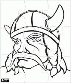 Hoofd van een Viking-krijger met een grote snor puzzel kleurplaat