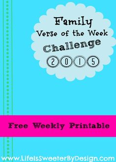 Get more scripture in front of your family...join me for a Verse of the Week Challenge!  Get a free weekly printable!