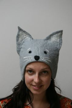 a+hat+Cat+felted+hat+Cat+Cat+by+Feltdeer+on+Etsy,+$18.00