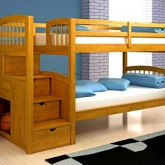 Bedroom. Wooden bunk beds ideas, stairs with storage, twitn bed plans bedroom ideas. Smart plans for bunk beds with stairs.