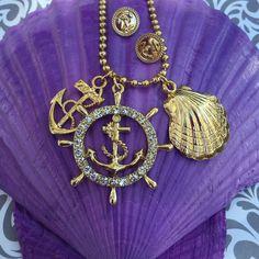 Mermaid crystal anchor charm necklace #beach #jewelry #sea #lovers #mermaid found at https://www.etsy.com/listing/249513231/sale-crystal-seashell-anchor-charm