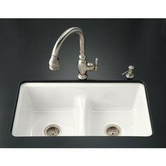 Kohler - Deerfield Smart Divide Undercounter Kitchen Sink in White - K-5838-7U-0 - Home Depot Canada