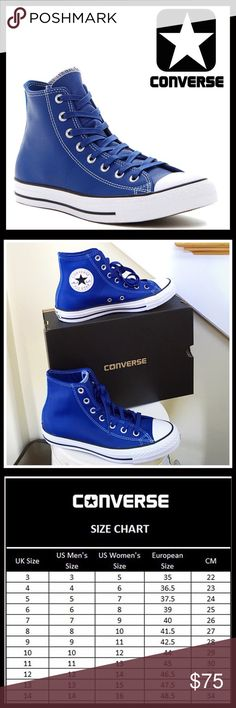 CONVERSE LEATHER SNEAKERS Hi Tops CONVERSE LEATHER SNEAKERS Hi Tops Oxfords *NEW IN BOX* AUTHENTIC * SIZING- Unisex, women's sizes are listed, see conversion chart for specific measurements COLOR- Blue, white * Generously cushioned footbed * Round toe & logo tongue * Lace-up closure * Rich supple leather construction  * Grip textured sole  MATERIAL Leather upper, textile lining & rubber sole  ❌NO TRADES❌ ✅BUNDLE DISCOUNTS✅ OFFERS CONSIDERED (Via the offer button only)  ITEM# SEARCH # chuck…