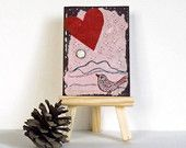 Modern Miniature Art Bird & Heart ACEO Valentines Day gift art trading card red heart whimsical pinkcontemporary collage sweetheart gift