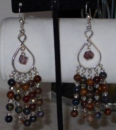 WONDERFUL RARE PIETERSITE AND CRYSTAL MULTI DROP DANGLE EARRINGS #Handmade #DropDangle