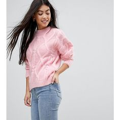 Miss Selfridge Petite Chunky Knitted Jumper (21 BHD) ❤ liked on Polyvore featuring tops, sweaters, petite, pink, high neck sweater, pink high neck top, drop shoulder sweater, pink sweater and high neckline tops
