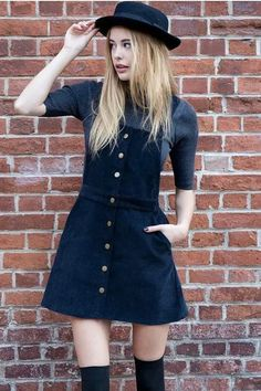 Corduroy Button Front Sleeveless Overall Dress #corduroy #dress #fun #genuinepeople