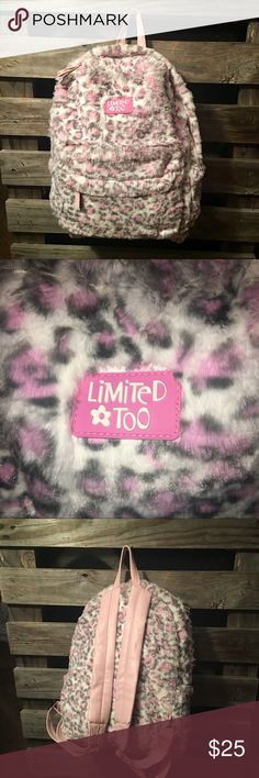 LimitedToo Faux Fur Leopard print Back pack ✨🎒✨ NWOT: Very cute and spacious with Pink, Grey, and white leopard print. Very soft to the touch and super cute! ✨🎒✨❤️✨🎒✨❤️✨ limited too Bags Backpacks
