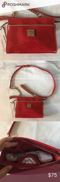 "Dooney & Bourke Red Patent Leather Crossbody Bag New no damage, measurements 8"" by 6"" by 1"" Dooney & Bourke Bags Crossbody Bags"