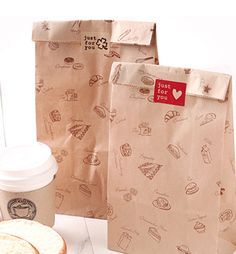 28x15x9cm bread take away packaging food bag greaseproof kraft food packing bags
