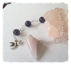 Rose Quartz/ Amethyst Pendulum /Dragonfly by Earthcentricity