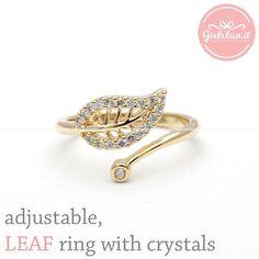 #girlsluvit.com           #ring                     #girlsluv.it #adjustable #LEAF #ring #with #crystals, #colors                 girlsluv.it - adjustable LEAF ring with crystals, 2 colors                                              http://www.seapai.com/product.aspx?PID=534160