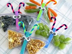 Snack Butterflies: Snack sized zip-lock  bag, Clothes-pin, Googly eyes, Pipe cleaner and your choice of snack