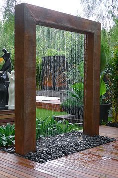 Stylish Outdoor Water Walls Ideas For Backyard is part of Diy garden fountains - If you have a large yard and enough space for a gazebo, you may consider placing water wall fountains on […] Small Backyard Gardens, Small Backyard Landscaping, Landscaping Design, Backyard Patio, Landscaping Software, Small Patio, Sloped Backyard, Mulch Landscaping, Nice Backyard
