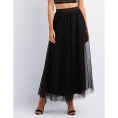 Charlotte Russe Tulle Full Maxi Skirt ($33) ❤ liked on Polyvore featuring skirts, black, floor length tulle skirt, high-waist skirt, charlotte russe, elastic waist skirt and high-waisted maxi skirts