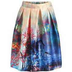 SheIn(sheinside) Multicolor Floral Pleated Flare Skirt ($15) ❤ liked on Polyvore