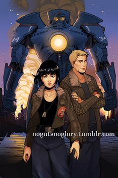 Pacific Rim - Gipsy Danger, with pilots Raleigh Becket and Mako Mori