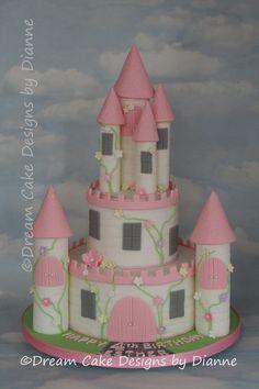 'ESTHER' ~ 2 TIER Princess Castle Cake Castle Birthday Cakes, Baby Birthday Cakes, 2nd Birthday, Castle Cakes, Rosalie, Princess Castle, Dream Cake, Cupcake Cakes, Cupcakes