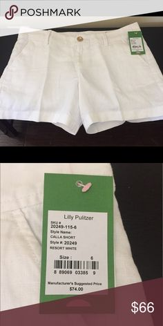 Lilly Pulitzer Calla Short Lilly Pulitzer Resort White Linen Calla Short, NEW with tag and in bag, only taken out to take this picture! Perfect summer short. White linen with Gold Lilly button! Lilly Pulitzer Shorts