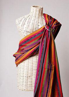 Maya Wrap Ring Sling Lightly Padded Shoulder -- Bright Stripes