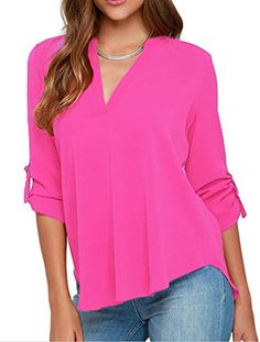 5bfda326324 Chase Secret Womens Sexy Chiffon Sleeved V Neck Shirts Tops XX-large Rosy   Chiffon top feature v neck and cuffed sleeve brVery comfortable and  fashionable ...