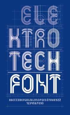 Electrotech font was created as a revival of an existing lettering found on a magazine from 1952. printed in Ljubljana, Yugoslavia. It is a highly geometrical font in which every glyph is made from the same predetermined module.