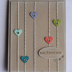 Valentine using bakers twine & tiny little punched hearts