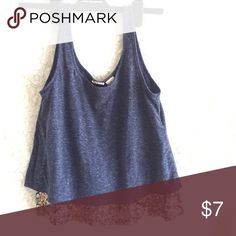 Tank Top Navy and sparkly gold tank top! Good condition. It's not a crop on me, however it may be on those with long torso's. Tops Tank Tops