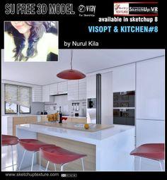 Free sketchup model moderne kitchen & Visopt #8 by architect interior design…