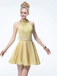 Pretty A-line Halter Zipper-Up Mini Prom Dress