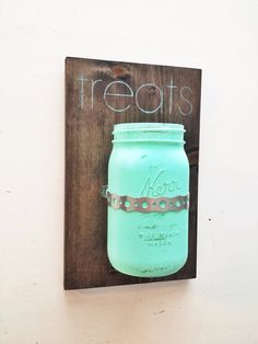 Dog Treat Teal Painted Mason Holder Treats by ZoomBooneCreations, $27.00