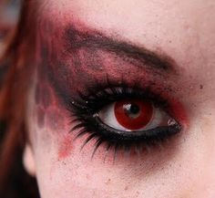 Female Devil Makeup with Horns and Red Body Makeup/Clothing ...