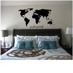 World Map with go find yourself quote Wall Decal by TipitDesigns, $24.00
