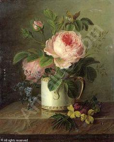 Attribued POL Christiaen van - Roses dans une tasse près de pensées sur un entablement