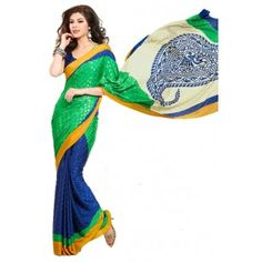 Shop Now - http://www.valehri.com/georgette-jaquard-green-blue-saree-with-blouse