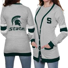 Ladyfanatics.com has cool stuff for MSU fans! >>>Michigan State Spartans Ladies Ash Study Hall Long Sleeve Cardigan